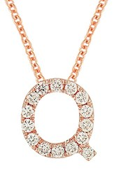 Bony Levy Women's Pave Diamond Initial Pendant Necklace Nordstrom Exclusive Rose Gold Q
