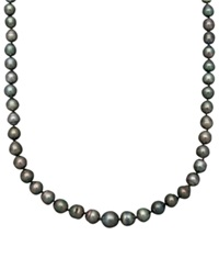Belle De Mer Pearl Necklace 14K Gold Cultured Tahitian Black Pearl Strand 8 9Mm