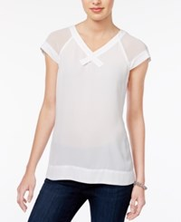 Maison Jules Colorblocked Contrast Sweater Only At Macy's Bright White