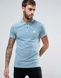 Boss Orange By Hugo Slim Polo Washed Pique In Light Blue Teal
