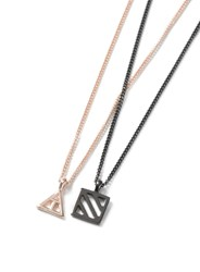 Topman Silver Black And Rose Gold Look Multirow Symbol Necklace