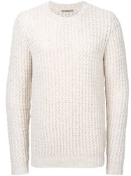 Nuur Textured Knit Jumper Men Acrylic Nylon Alpaca Merino 48 White