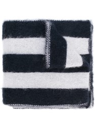 Golden Goose Deluxe Brand Wide Striped Scarf Blue