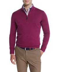 Peter Millar Merino Quarter Zip Sweater Raspberry Dark Purple