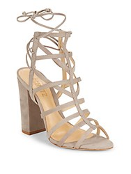 Schutz Open Toe Cutout Leather Sandals Mouse