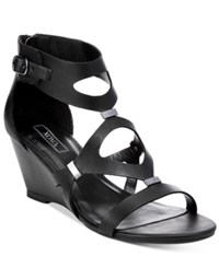 Xoxo Sees Gladiator Wedge Sandals Women's Shoes Black