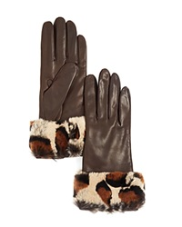 Bloomingdale's Leopard Print Rabbit Fur Gloves Brown