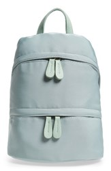Street Level Faux Leather Trim Zip Backpack Green Sage