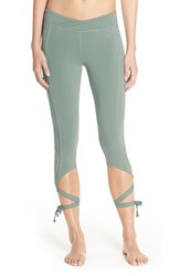 Women's Free People 'Turnout' Tie Up Leggings Soft Green