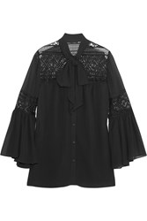 Alice By Temperley Fleur Lace Paneled Georgette Blouse Black