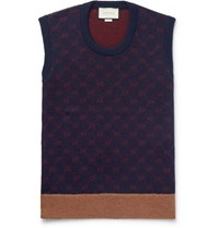 Gucci Logo Jacquard Wool And Alpaca Blend Sweater Vest Navy