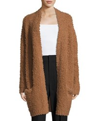 Vince Teddy Long Open Front Cardigan Dark Camel