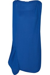 Vionnet Draped Textured Crepe Mini Dress Blue