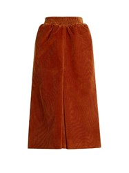 Balenciaga Pleat Front Corduroy Midi Skirt Tan