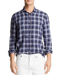 Bloomingdale's The Men's Store At Yarn Dye Linen Long Sleeve Button Down Shirt Blue White