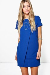 Boohoo Cap Sleeve Wrap Over Shift Dress Cobalt