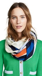 Tory Burch Striped Traveler Oblong Scarf Ivory Blue
