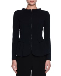 Giorgio Armani Collarless Zip Front Peplum Jacket Black