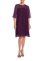 Erin Fetherston Pleated Illusion Dress Aubergine