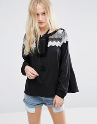 Hazel Crochet Panel Blouse Black