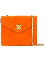 Chanel Vintage Single Chain Shoulder Bag Yellow And Orange