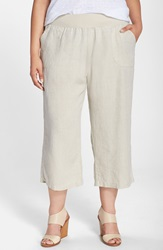 Allen Allen Crop Linen Pants Plus Size Natural