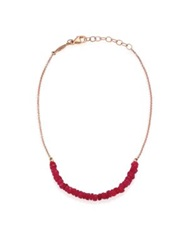 Jacquie Aiche Beaded Ruby And 14K Rose Gold Beaded Anklet Rose Gold Red