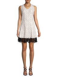 Donna Ricco Floral Fit And Flare Dress White Black