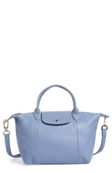 Longchamp 'Le Pliage Cuir' Leather Handbag Blue Blue Mist