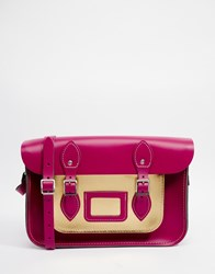 The Leather Satchel Company 12.5 Satchel With Metallic Pocket Pink
