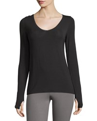 Yummie Tummie Betsey Ribbed Long Sleeve Layering Top Black