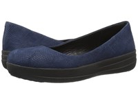 Fitflop Sporty Ballerina Midnight Navy Snake Embossed Women's Sandals Blue
