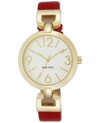 Nine West Women's Red Leather Strap Watch 36Mm Nw 1778Wtrd