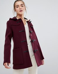Gloverall Long Panelled Duffle Coat With Hood Purple