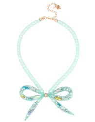 Betsey Johnson Mixed Charm Bow Pendant Necklace Blue