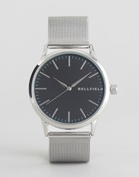 Bellfield Watch Silver Mesh Strap Watch With Black Dial