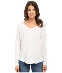 Splendid Vintage Whisper V Neck Long Sleeve Paper Women's Clothing White