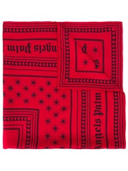 Palm Angels Logo Print Scarf Red