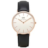 Daniel Wellington 0107Dw Men's Sheffield Rose Gold Plated Leather Strap Watch Black White