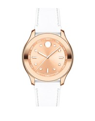 Movado Bold Ionic Rose Goldplated Steel And Silicone Strap Watch White