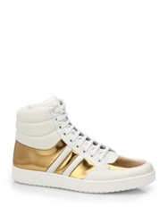 Gucci Contrast Padded Leather High Top Sneakers Ivory Gold