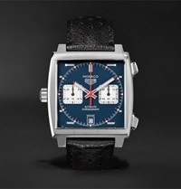 Tag Heuer Monaco Automatic Chronograph 39Mm Steel And Leather Watch Black