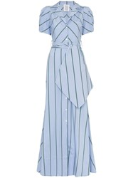 Rosie Assoulin Pouf Sleeve Striped Maxi Dress Blue