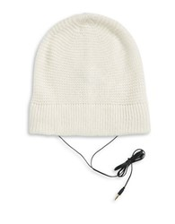 Rebecca Minkoff Always On Headphone Knit Beanie White