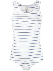 Bellerose Striped Ribbed Knit Body White