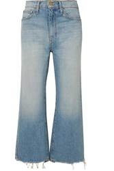 The Great Rider Cropped Frayed High Rise Wide Leg Jeans Light Denim