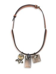Marni Horn And Leather Triple Pendant Necklace