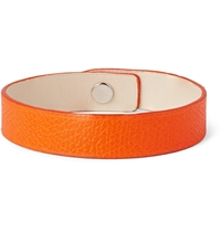 Valextra Pebbled Leather Bracelet Orange