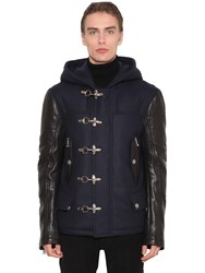 Balmain Cashmere Blend And Leather Biker Coat Navy