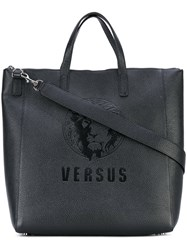 Versus Embossed Logo Tote Women Artificial Leather One Size Black